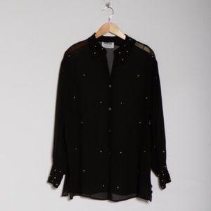 Vintage embellished chiffon tunic